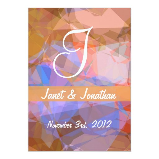 Abstract Polygons 48 Customizable Monogram 5x7 Paper Invitation Card