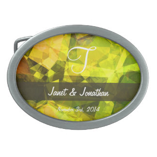 Abstract Polygons 4 Monogram Oval Belt Buckle