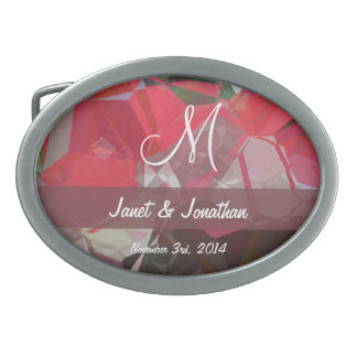 Abstract Polygons 55 Customizable Monogram Oval Belt Buckles