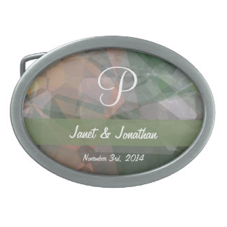 Abstract Polygons 73 Customizable Monogram Oval Belt Buckles