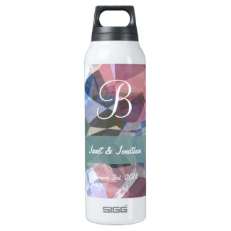 Abstract Polygons 90 Customizable Monogram 16 Oz Insulated SIGG Thermos Water Bottle