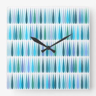 Abstract Pop art blue drops Square Wall Clock