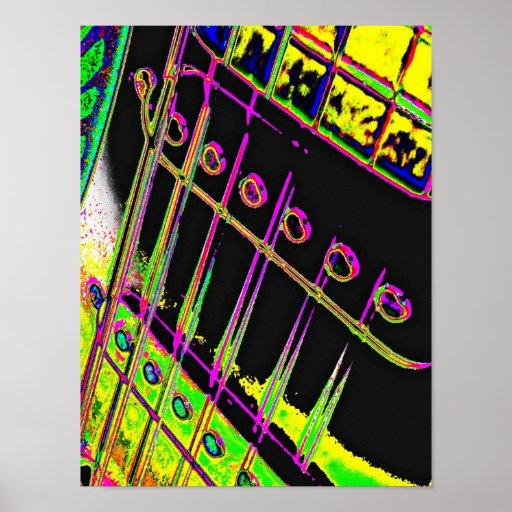 Abstract Pop Art Guitar Poster Man Cave Decor