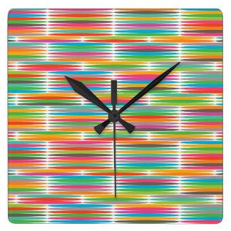 Abstract Pop art multicolor rainbow mosaic Square Wall Clock