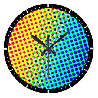 Abstract Pop Art Polka Dots Pattern Large Clock