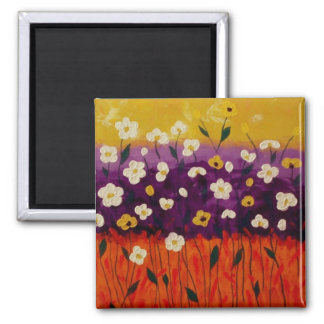 """Abstract Poppies 2"" by Linda Powell~Magnet 2 Inch Square Magnet"