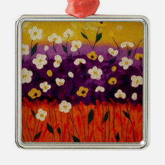 """""""Abstract Poppies 2"""" by Linda Powell~Ornament Square Metal Christmas Ornament"""