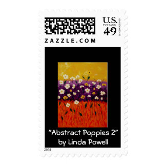 """Abstract Poppies 2"" by Linda Powell~Postage"