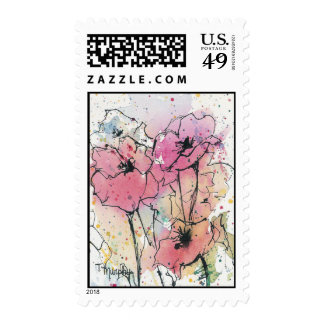 Abstract Poppies in Pink Postage Stamp