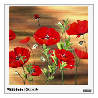 Abstract Poppies Painting Square Wall Decal
