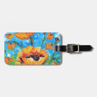 Abstract Poppy Art, Yellow Poppy Painting Bag Tag