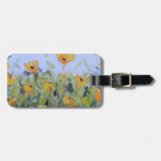 Abstract Poppy Art, Yellow Poppy Painting Luggage Tags