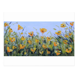 Abstract Poppy Art, Yellow Poppy Painting Postcard