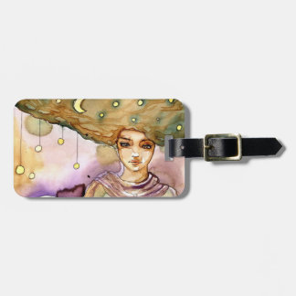 Abstract portrait and pretty woman bag tag