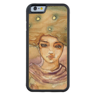Abstract portrait and pretty woman carved maple iPhone 6 bumper case