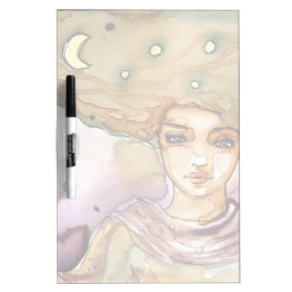Abstract portrait and pretty woman dry erase board