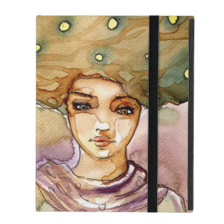 Abstract portrait and pretty woman iPad cover