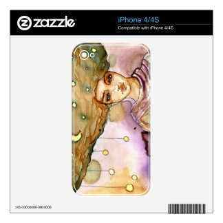Abstract portrait and pretty woman iPhone 4S skins