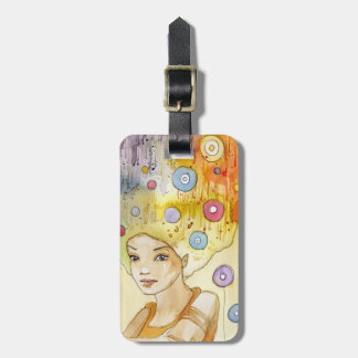 Abstract portrait bag tag