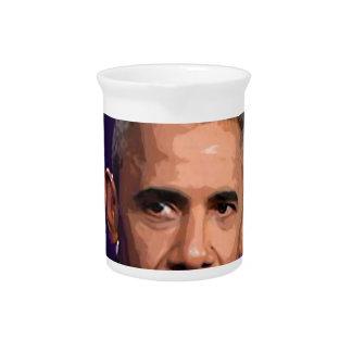 Abstract Portrait of President Barack Obama 9 Drink Pitcher