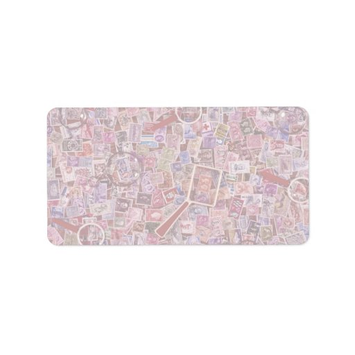 Abstract Postage stamps and magnifiers Personalized Address Label