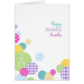 Abstract pretty rainbow dots Happy Birthday Auntie Greeting Card