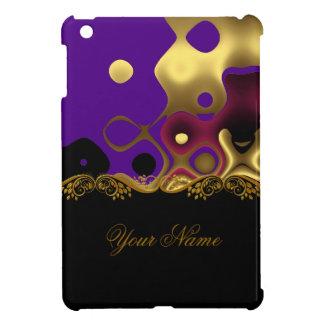Abstract Print Black Gold Swirl purple Case For The iPad Mini