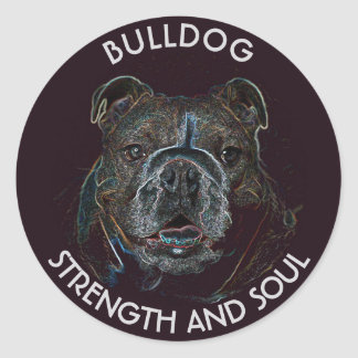 Abstract Psychedelic Dark Bulldog Drawing Classic Round Sticker