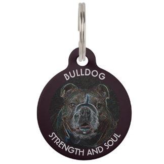 Abstract Psychedelic Dark Bulldog Drawing Pet Tags