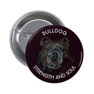 Abstract Psychedelic Dark Bulldog Drawing Pinback Button
