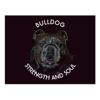 Abstract Psychedelic Dark Bulldog Drawing Postcard