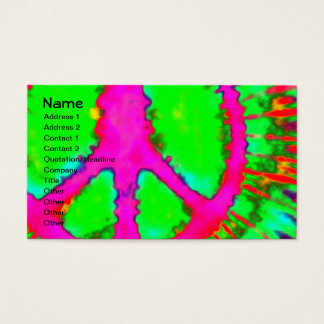Abstract Psychedelic Fine Tie-Dye Peace Sign Business Card