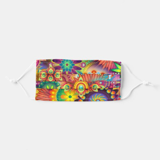 Abstract Psychedelic Mandala Floral Colorful Cloth Face Mask