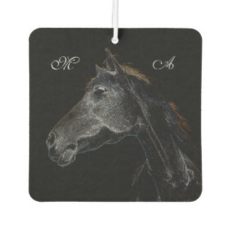 Abstract Psychedelic Silver And Black Horse Car Air Freshener
