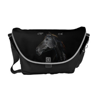 Abstract Psychedelic Silver And Black Horse Courier Bag