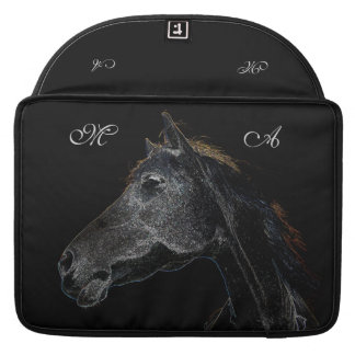 Abstract Psychedelic Silver And Black Horse Sleeve For MacBook Pro