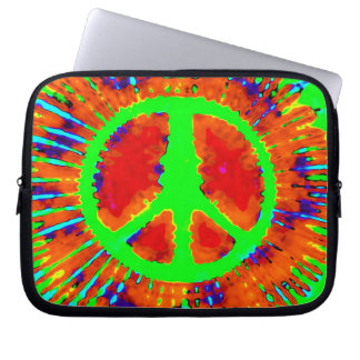 Abstract Psychedelic Tie-Dye Fine Peace Sign Laptop Sleeve