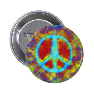 Abstract Psychedelic Tie-Dye Peace Sign Button