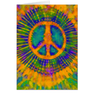 Abstract Psychedelic Tie-Dye Peace Sign Card
