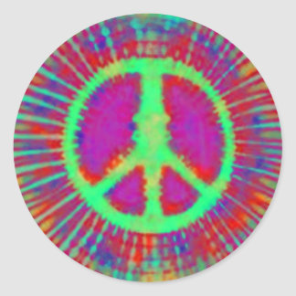 Abstract Psychedelic Tie-Dye Peace Sign Classic Round Sticker