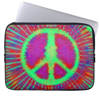 Abstract Psychedelic Tie-Dye Peace Sign Computer Sleeves