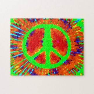 Abstract Psychedelic Tie-Dye Peace Sign Jigsaw Puzzle