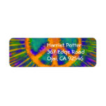 Abstract Psychedelic Tie-Dye Peace Sign Custom Return Address Label