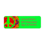Abstract Psychedelic Tie-Dye Peace Sign Labels