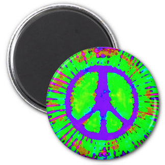 Abstract Psychedelic Tie-Dye Peace Sign 2 Inch Round Magnet