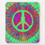Abstract Psychedelic Tie-Dye Peace Sign Mouse Pad