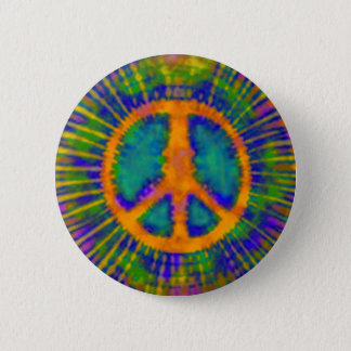 Abstract Psychedelic Tie-Dye Peace Sign Pinback Button