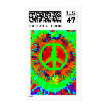 Abstract Psychedelic Tie-Dye Peace Sign Postage