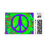 Abstract Psychedelic Tie-Dye Peace Sign Postage Stamp