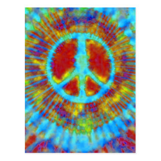 Abstract Psychedelic Tie-Dye Peace Sign Postcard